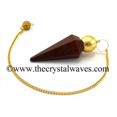 Red Jasper Faceted Gold Modular Pendulum