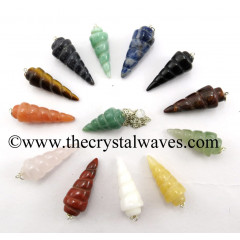 Mix Assorted Gemstones Spiral pendulum
