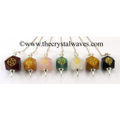Mix Assorted Gemstones Engraved Hexagonal Pendulum