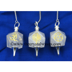 Crystal Quartz B Grade Mix Engraved Hexagonal Pendulum