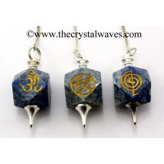 Lapis Lazuli Engraved Hexagonal Pendulum