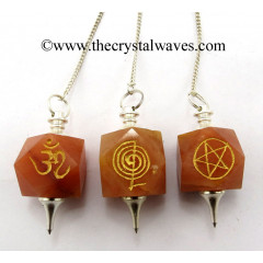Red Aventurine Engraved Hexagonal Pendulum