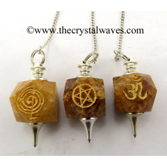 Yellow Aventurine Engraved Hexagonal Pendulum