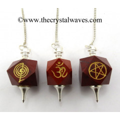 Red Jasper Engraved Hexagonal Pendulum