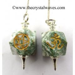 Moss Agate Engraved Hexagonal Pendulum