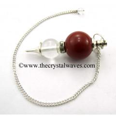 Red Jasper & Crystal Quartz Ball 2 Pc Pendulum
