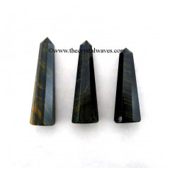 "Blue / Black Tiger Eye Agate 2"" to 3"" Pencil 6 to 8 Facets"