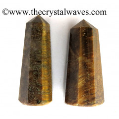 "Tiger Eye Agate 2"" to 3"" Pencil 6 to 8 Facets"