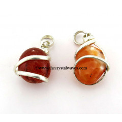 Carnelian Nugget Metal Wrapped Pendant