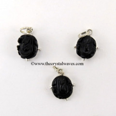 Black Agate  Ganesh Cabochon Pendant