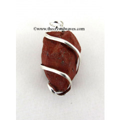 Red Jasper Hammered Nuggets Cage Wrapped Pendant