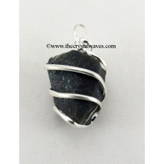 Black Agate Hammered Nuggets Cage Wrapped Pendant