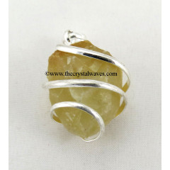 Yellow Aventurine Hammered Nuggets Cage Wrapped Pendant