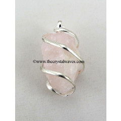 Rose Quartz Hammered Nuggets Cage Wrapped Pendant