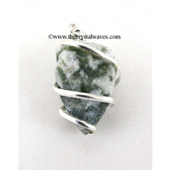 Moss Agate Hammered Nuggets Cage Wrapped Pendant