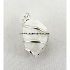 Snow Quartz Hammered Nuggets Cage Wrapped Pendant