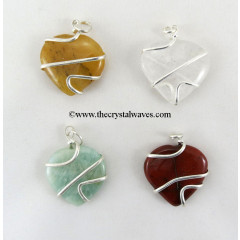 Mix Gemstone Cage Wrapped Hearts Pendant