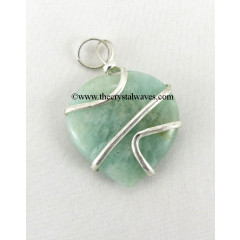 Amazonite Cage Wrapped Hearts Pendant