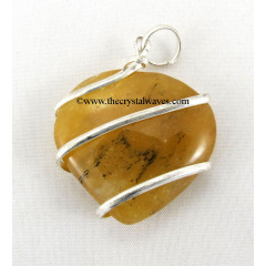 Yellow Aventurine Cage Wrapped Hearts Pendant