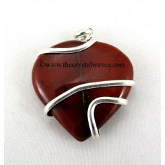 Red Jasper Cage Wrapped Hearts Pendant