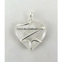 Crystal Quartz Cage Wrapped Hearts Pendant