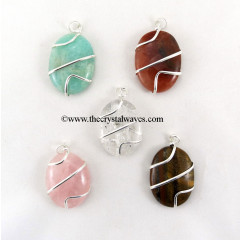 Mix Gemstones Cage Wrapped Oval Pendant