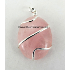 Rose Quartz Cage Wrapped Oval Pendant