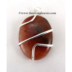 Red Aventurine Cage Wrapped Oval Pendant