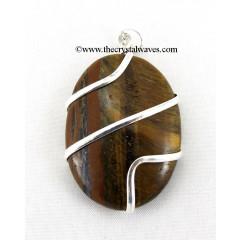 Tiger Eye Agate Cage Wrapped Oval Pendant