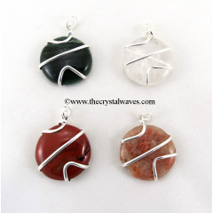Mix Gemstones Cage Wrapped Discs Pendant