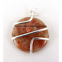 Sunstone  Cage Wrapped Disc Pendant