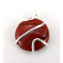 Red Jasper  Cage Wrapped Disc Pendant