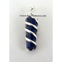 Lapis Lazuli  Cage Wrapped Pencil Pendant