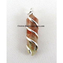 Sunstone Cage Wrapped Pencil Pendant