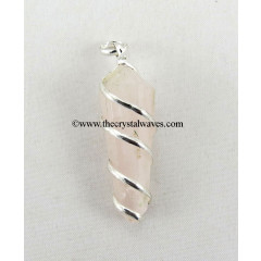 Rose Quartz Cage Wrapped Pencil Pendant