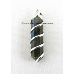 Labradorite Cage Wrapped Pencil Pendant