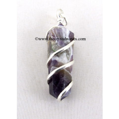 Amethyst Cage Wrapped Pencil Pendant