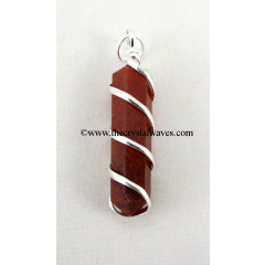 Red Jasper Cage Wrapped Pencil Pendant