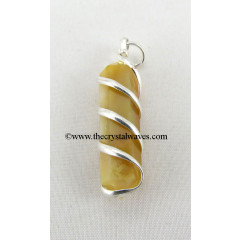 Yellow Aventurine Cage Wrapped Pencil Pendant