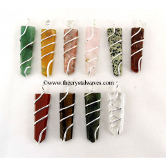 Mix Gemstone Cage Wrapped Flat Pencil Pendant