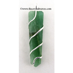 Green Aventurine ( Light)  Cage Wrapped Flat Pencil Pendant