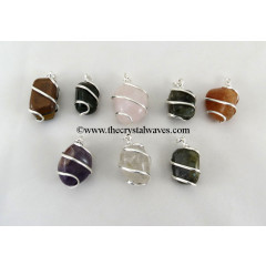 Mix Gemstones  Cage Wrapped Tumbled Stones Pendant