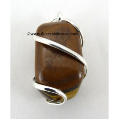 Tiger Eye Agate Cage Wrapped Tumbled Stones Pendant