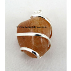 Yellow Aventurine Cage Wrapped Tumbled Stones Pendant