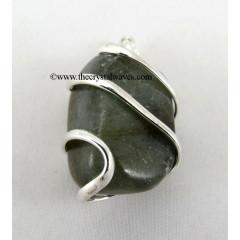 Labradorite Cage Wrapped Tumbled Stones Pendant