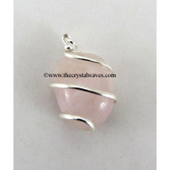 Rose Quartz Cage Wrapped Tumbled Stones Pendant
