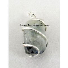 Rainbow Moonstone Cage Wrapped Tumbled Stones Pendant