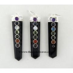 Black Agate Flat Pencil Chakra Pendant