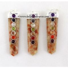 Sunstone Flat Pencil Chakra Pendant