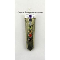 Pyrite Flat Pencil Chakra Pendant